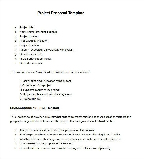 Proposal Example Project Proposal Template 13 Free Sample Example - funding proposal template