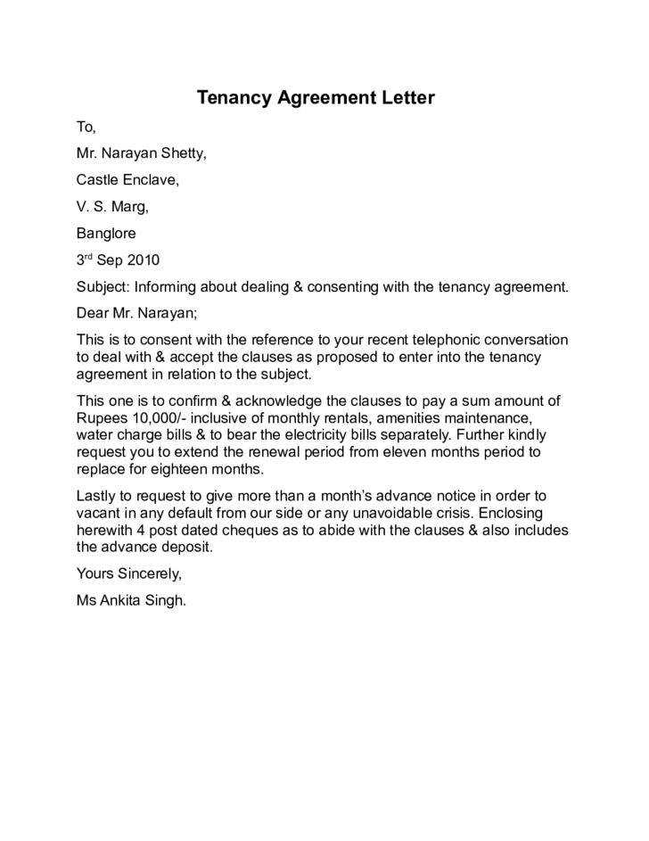 Tenant Agreement Letter Tenancy Agreement Letter Sample Free - agreement letter examples