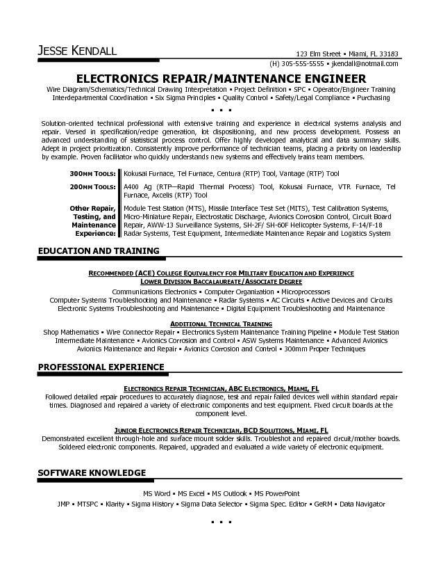 Electronics Technician Resume Samples Free Electronic Technician