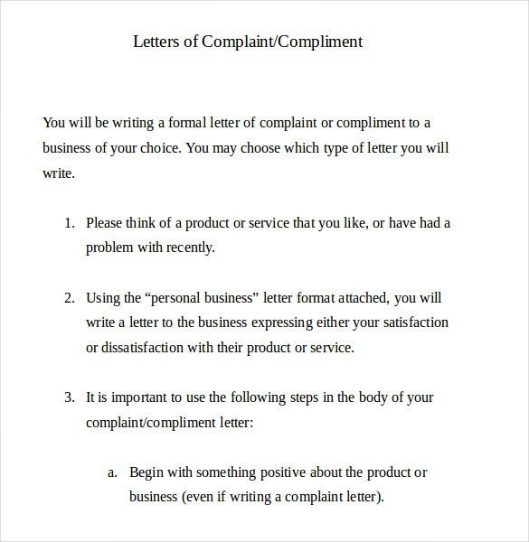 complain letters samples
