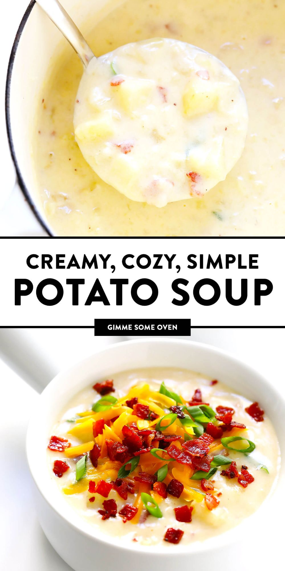The BEST Potato Soup recipe! It's quick and easy to make, nice and creamy (with zero heavy cream), with lots of bacon (if you'd like). Total comfort food! | Gimme Some Oven #soup #potato #dinner #mealprep #recipe
