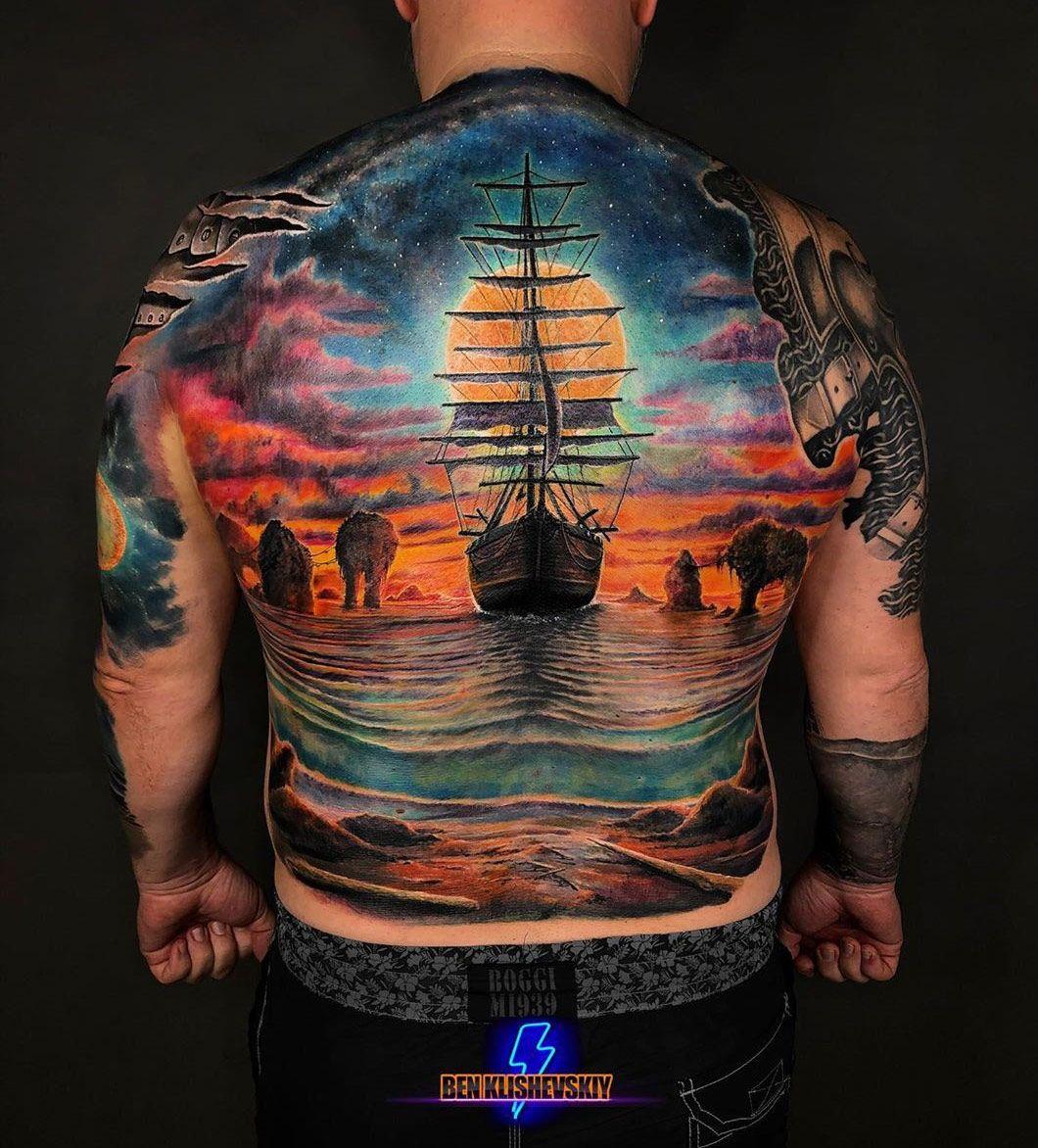 Sailing Ship Back Tattoo