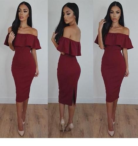 Classy burgundy dress with pumps
