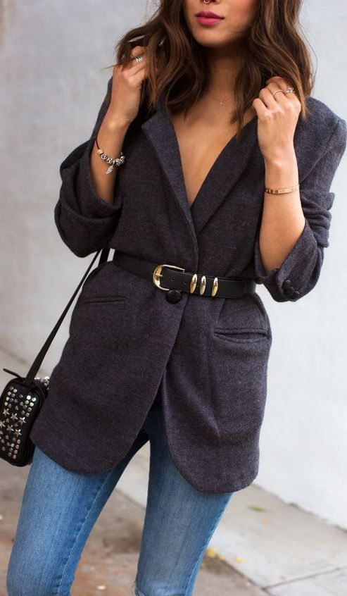 trendy outfit idea : bag + skinny jeans + blazer