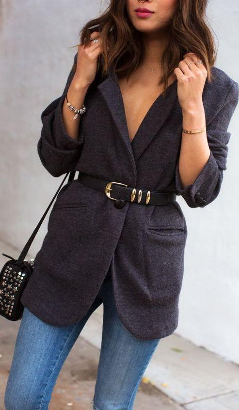trendy outfit idea : bag + skinny jeans + blazer