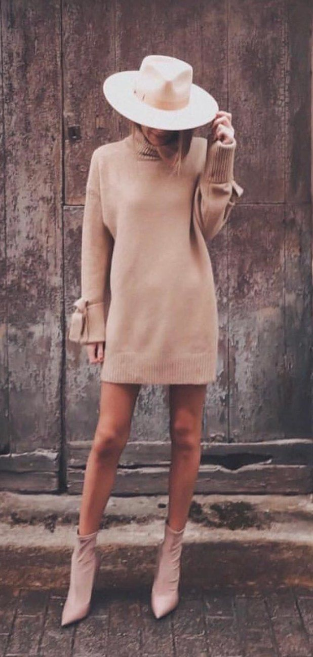 brown turtleneck long-sleeved mini dress and white hat #spring #outfits