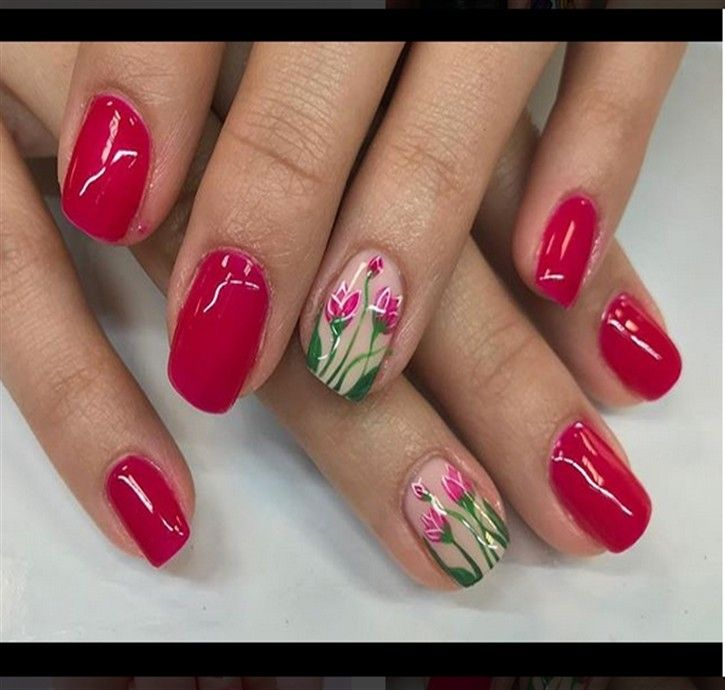 30+ Best Tulip Nail Art Design trends – Fashonails #nail_art_designs #trendy_nails #tulip_nails #top_manicure