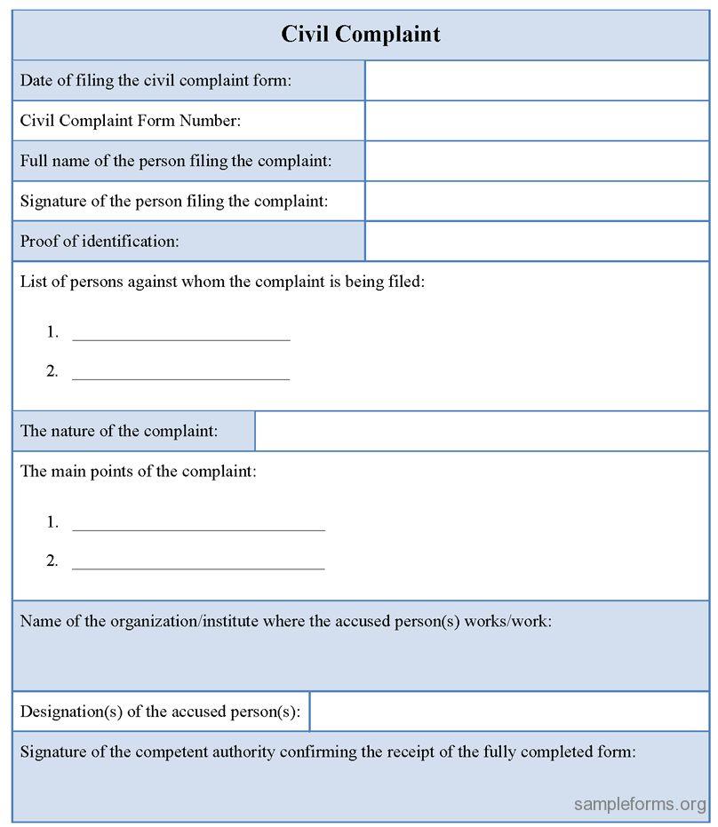 Civil Complaint Template Complaint Wikiwand, Sample Civil - sample patient complaint form