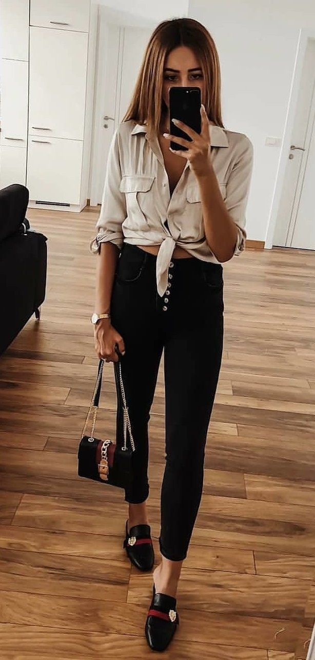 white dress shirt #spring #outfits