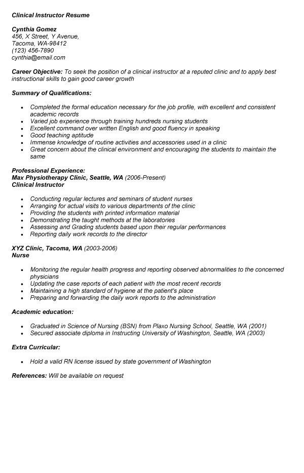 nursing instructor resume node494 cvresumecloudunispaceio - Clinical Instructor Resume