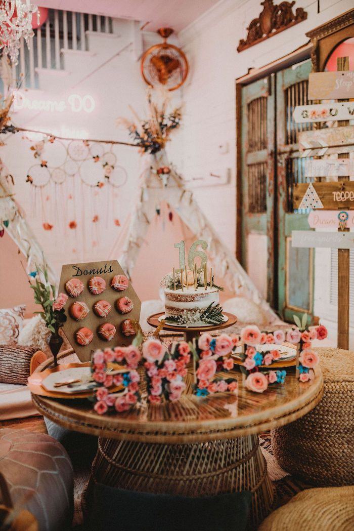 Rustic Boho Sweet 16 Sleepover Party