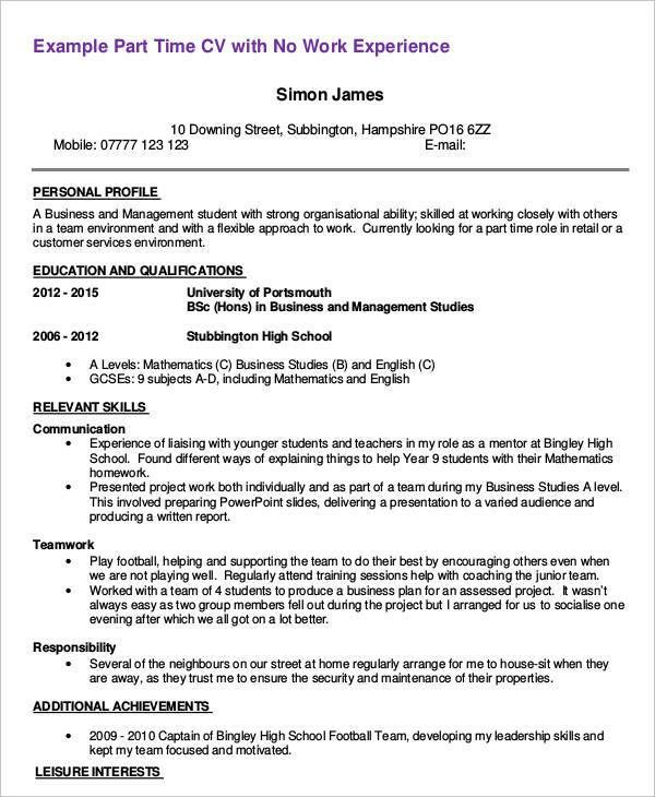 Sample Resume Part Time Job Career Center Part Time Resume Sample