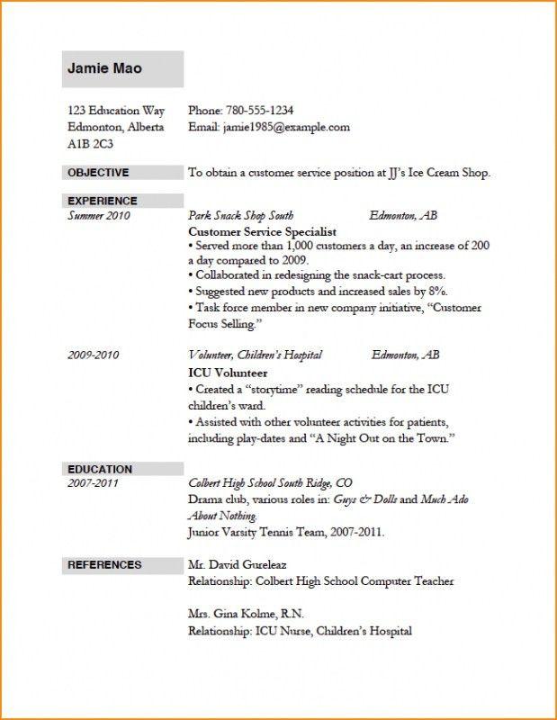 Application Resume Template Seasonal Employment Resume - resume format for college application