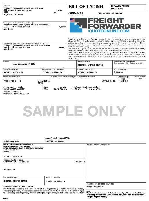 Sample Of Bill Of Lading Document 5 Free Bill Of Lading Templates - bill of lading form