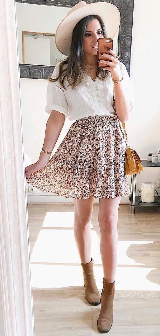 gray and beige miniskirt #spring #outfits