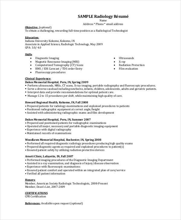 Radiologist resume