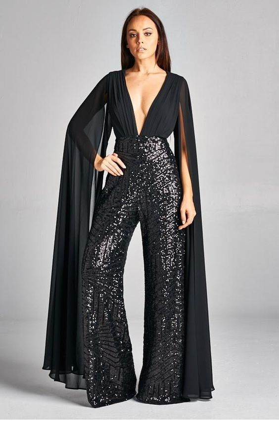 Perfect V-neck jumpsuit with glitter