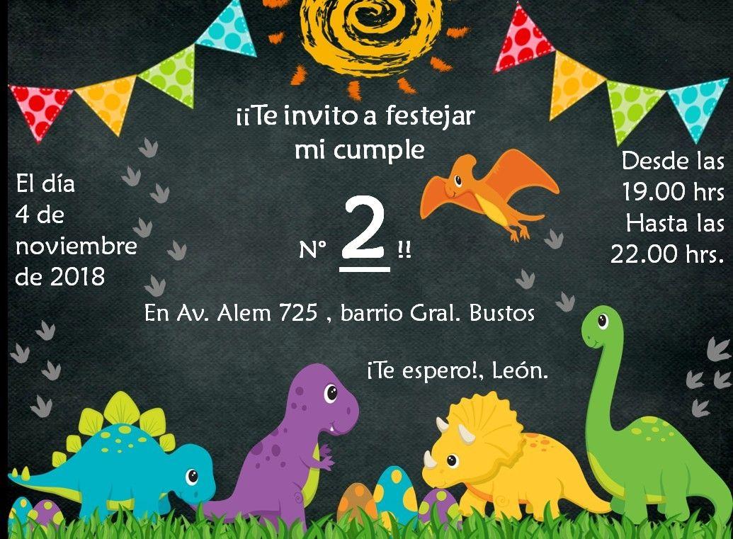 Invitación Digital Para Cumpleaños Temática Dinosaurios Bebé