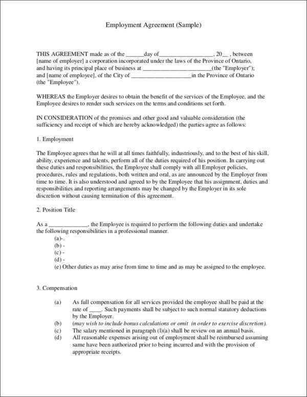 Employment Contract Template Employment Contract Template 10 Free - agreement for labour contract