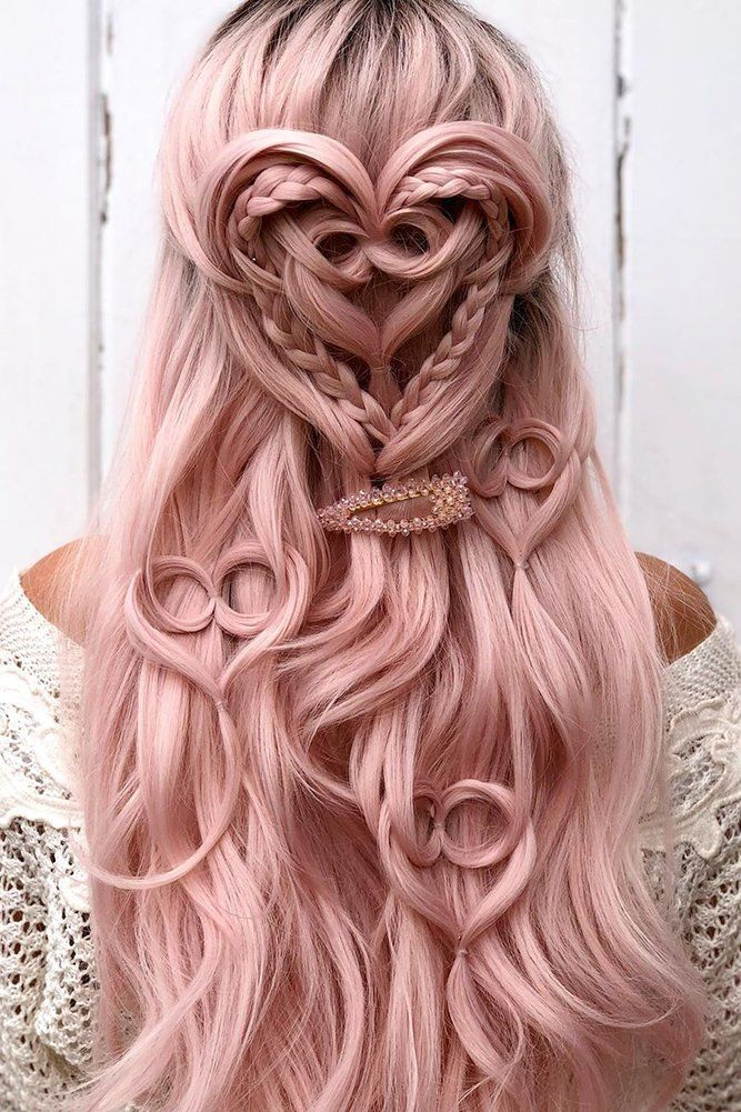 Valentine's Day Hairstyles ❤ valentines day hairstyles on long pink hair half up half down with textured heart shapes alexandralee1016 #weddingforward #wedding #bride #weddinghair #valentinesdayhairstyles