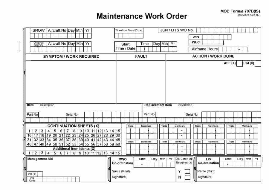 ... Work Order Template Work Orders Free Work Order Form Template For    Maintenance Work Order Form ...
