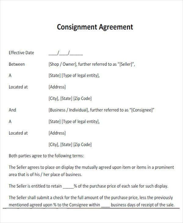 Consignment Agreement Definition 59 [Template.billybullock.us ]  Consignment Agreement Format