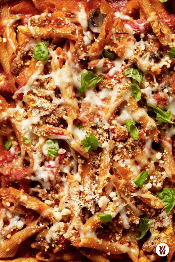 Baked Penne with Turkey, Mushroom and Roasted Pepper Ragu: This family-friendly, comfort food-classic is made healthier with lean turkey and lots of vegetables. Use any combination of vegetables you have on hand.