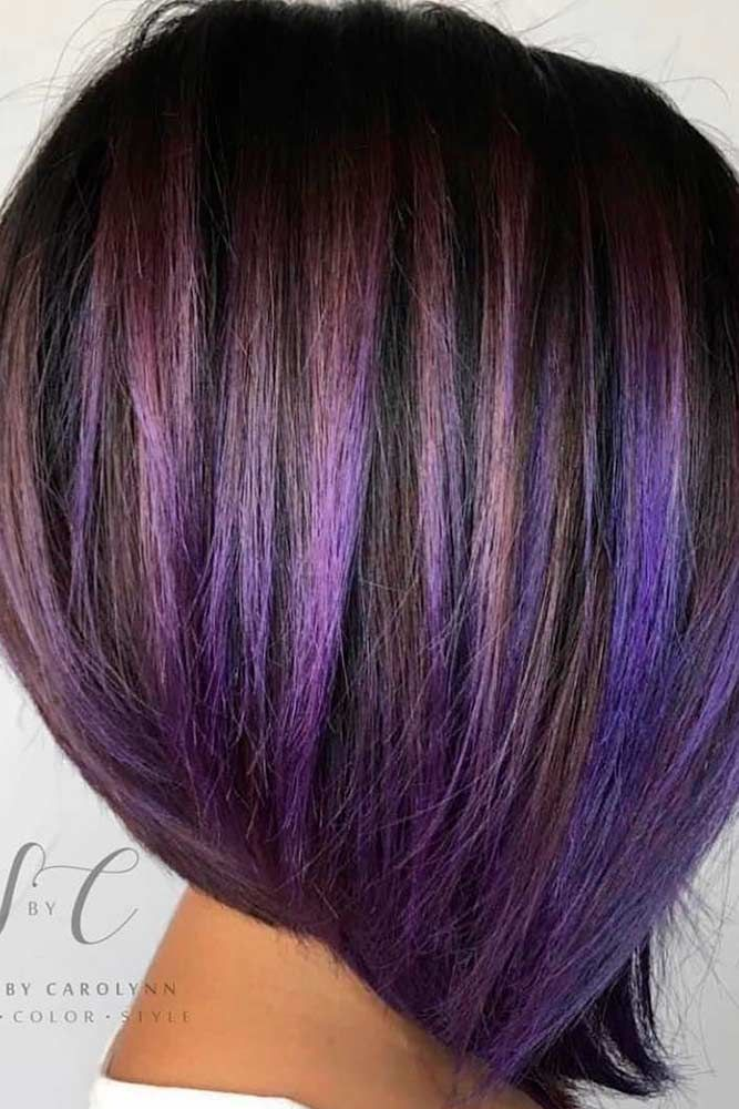 Black and Purple Tresses #purplehair #shorthairstyles ★ Light and dark brown hair with highlights and lowlights looks spectacular. Discover trendy color ideas for short and long hairstyles. #glaminati #lifestyle #brownhairwithhighlights