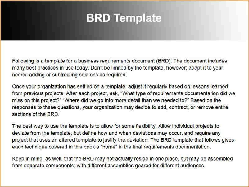 Requirements Document Template Sample Business Requirement - business requirement documents