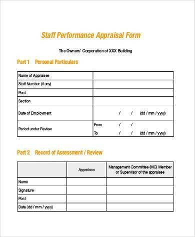 Appraisal Sheet 8 Hr Appraisal Forms Hr Templates Free Premium - employee evaluation form example