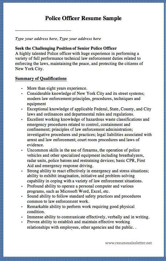 Sample Resume Police Officer Police Officer Resume Sample Writing