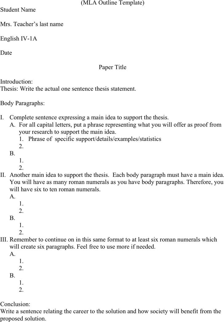 Outline Of Essay Example Essay Outline Template 25 Free Sample - mla outline