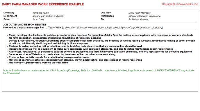 Dairy Farm Manager Sample Resume sample resume dairy farm valid