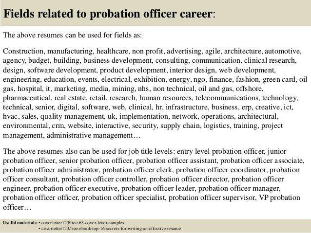 Assistant Probation Officer Sample Resume Free Entry Level