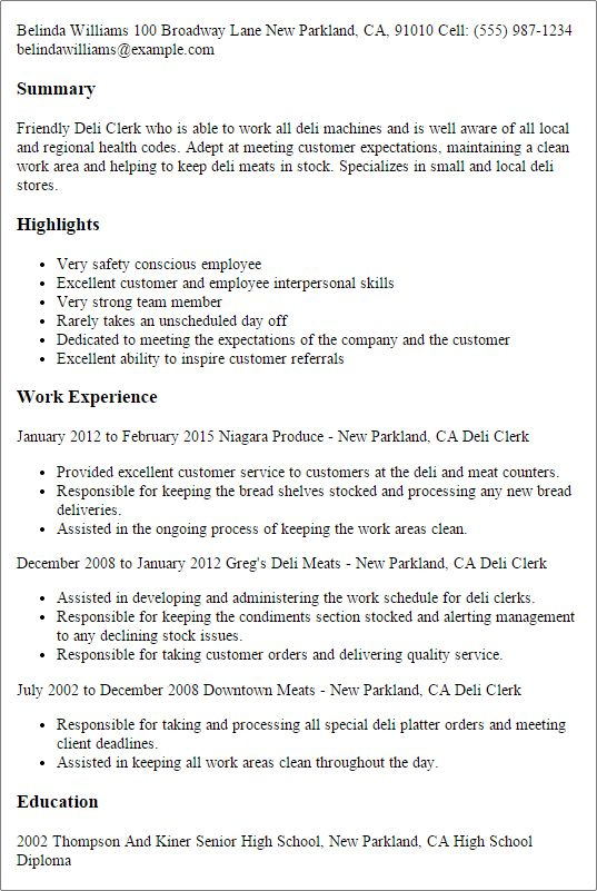 Grocery Clerk Sample Resume Professional Templates To