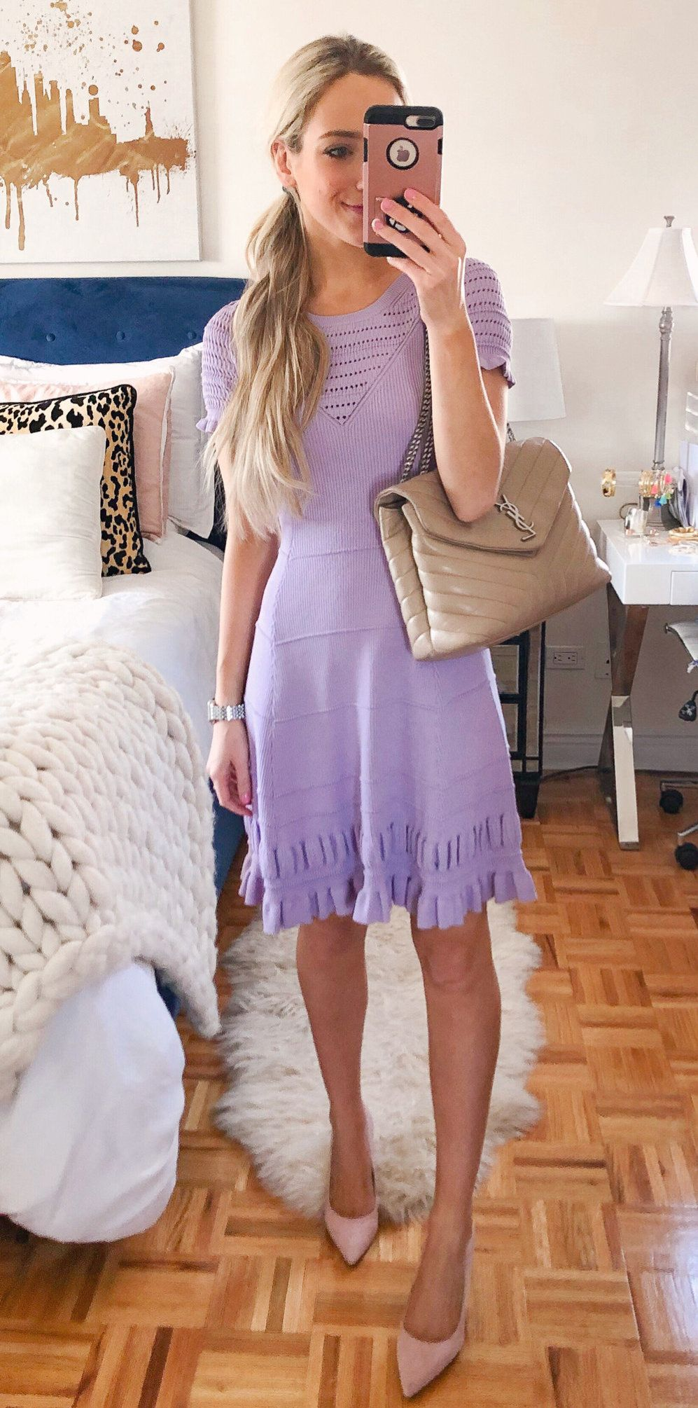 purple short sleeved dress #spring #outfits