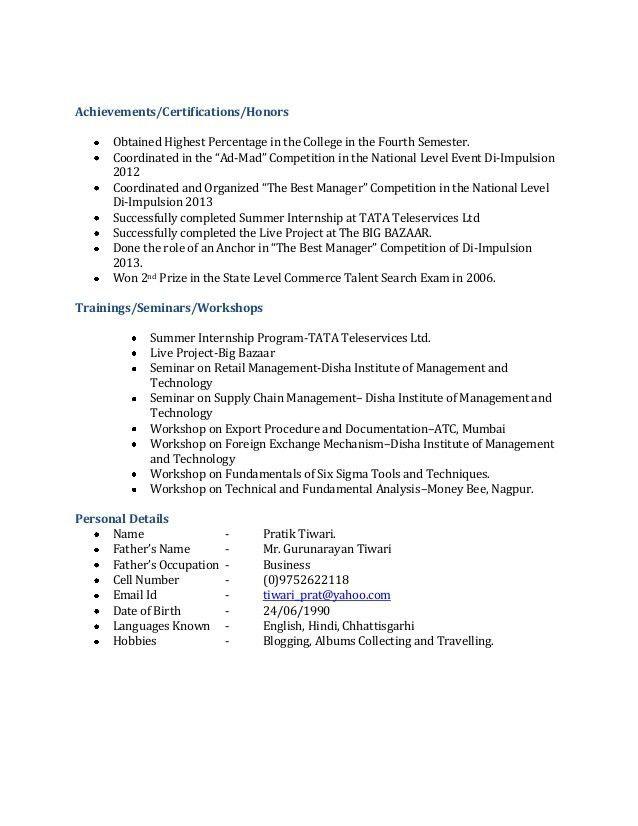 resume format for freshers bca