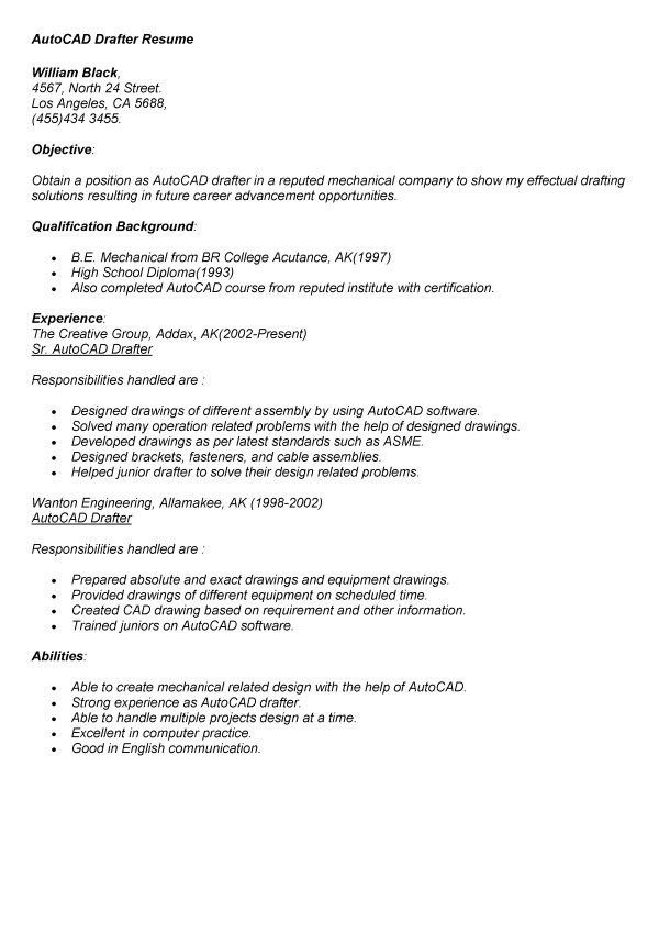 sample autocad drafter resume
