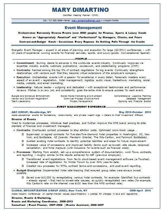event manager resume - Event Manager Resume