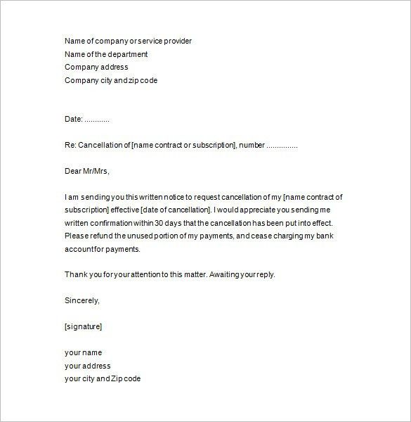 termination agreement letter template contract termination letter sample contract termination letter termination of service letter - Contract Cancellation Letter Sample