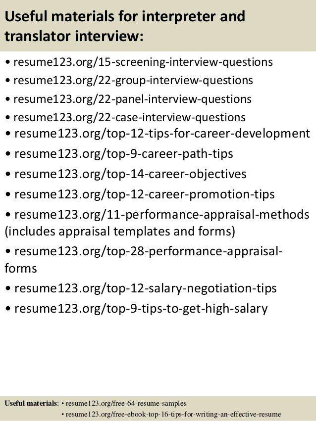 Interpreter Resume Objective Top 8 Translator Interpreter Resume