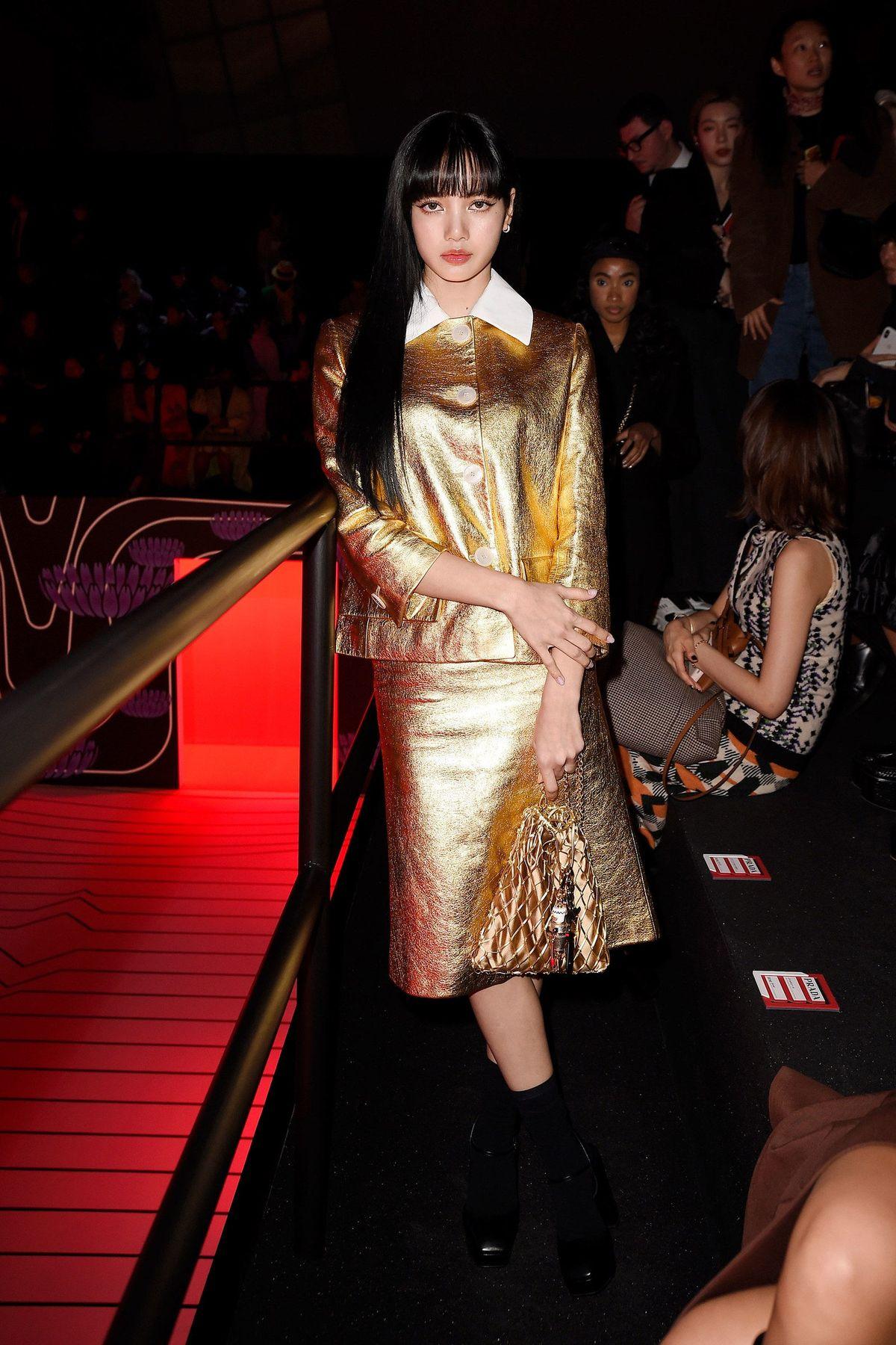Blackpink's Lisa Gold Look at Prada's Milan Fashion Week Show