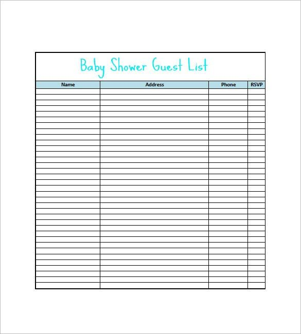 Doc#600771 Baby Shower Guest List Template u2013 Baby Shower Guest - wedding guest list template