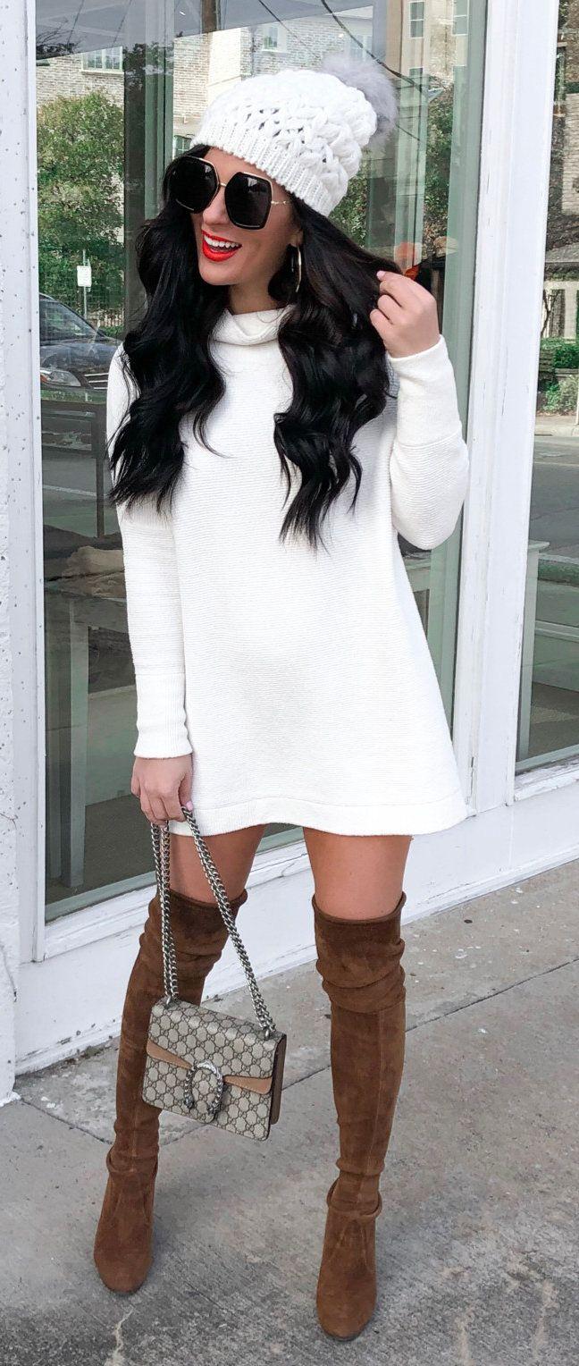 white long-sleeved dress