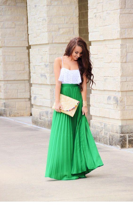 White top, green skirt and a nice bag