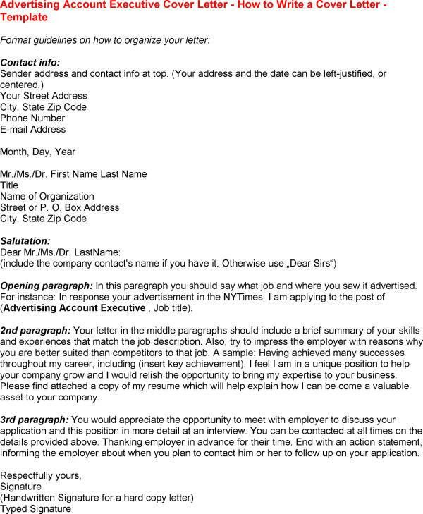 cover letter account executive advertising agency