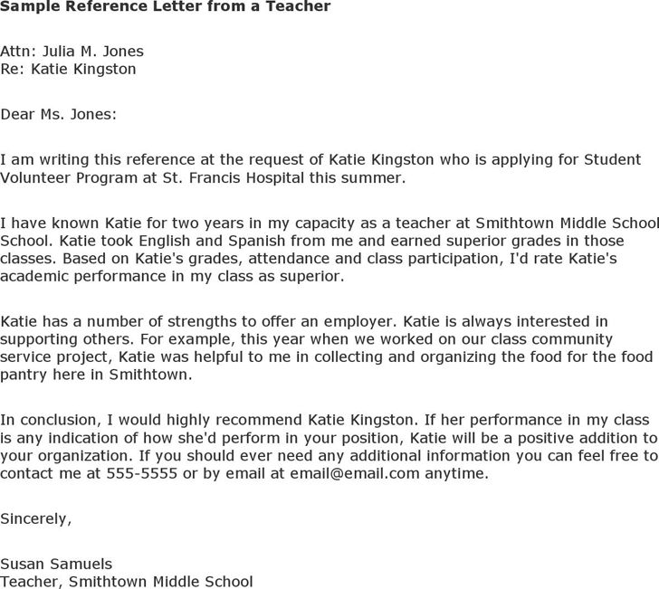 sample recommendation letter for middle school student from teacher