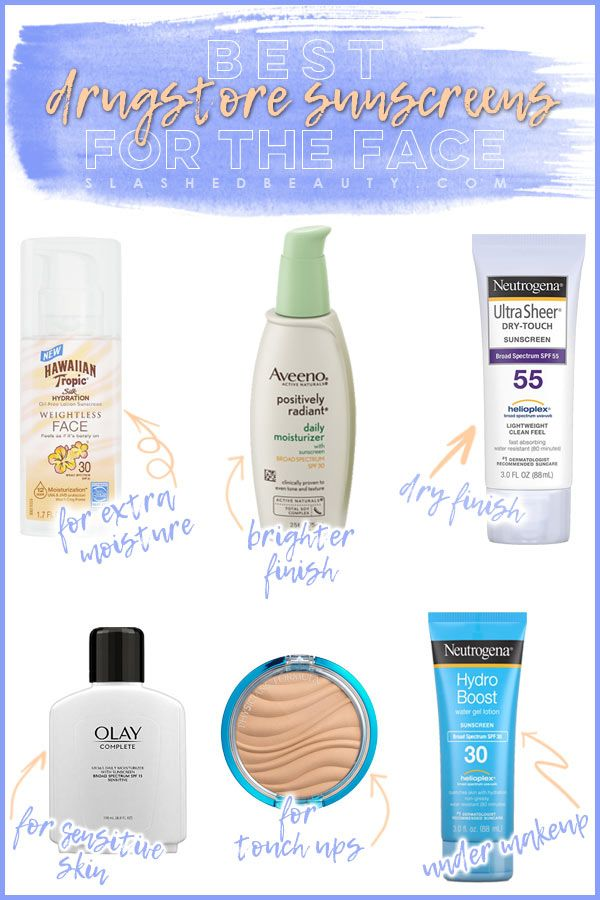The sunscreen you use on your face should be a careful choice based on your skin type. Here are the best drugstore sunscreens for the face.