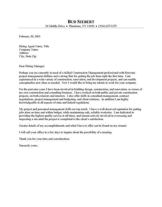 Cover Letter Construction Management Manager Cover Letter Sample