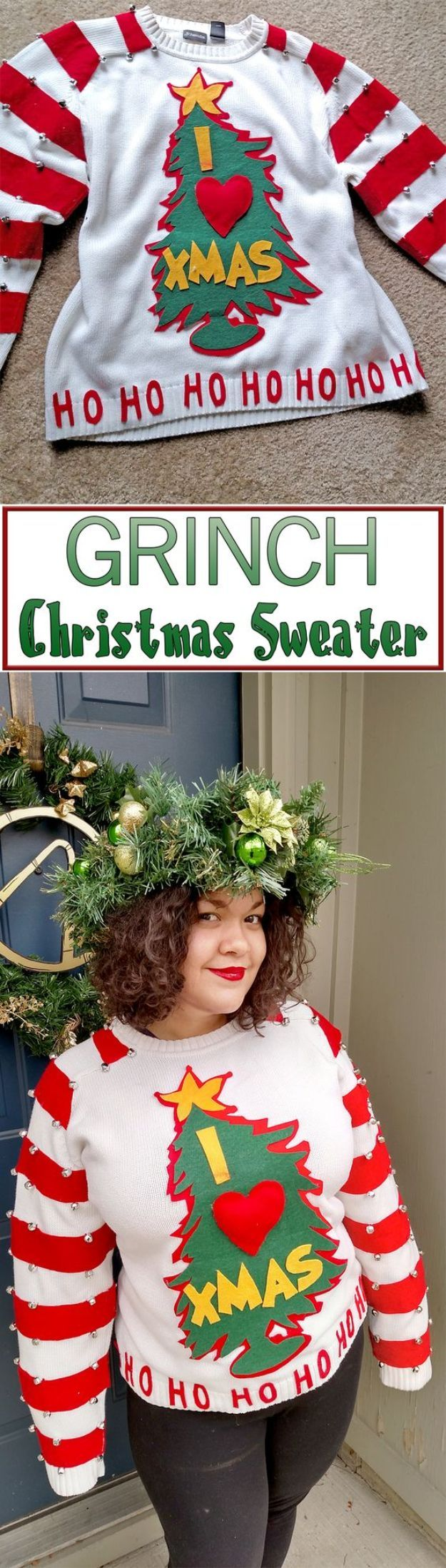 DIY Ugly Christmas Sweaters – Easy DIY Grinch Sweater – No Sew and Easy Sewing Projects – Ideas for Him and Her to Wear to Holiday Contest or Office Party Outfit – Funny Couples Sweater, Mens Womens and Kids